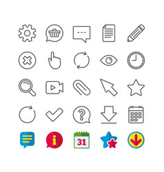 Document time and calendar line icons question vector