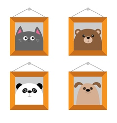 Dog bear cat panda head picture frame hanging on vector