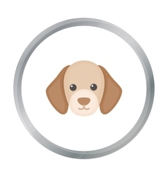 Dog muzzle icon in cartoon style for web vector