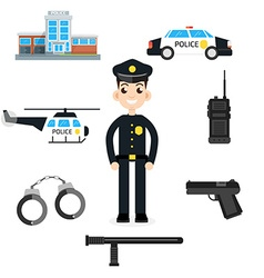 Elements for infographic police car department vector