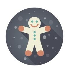 Gingerbread man Christmas flat icon vector image