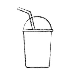 glass with straw icon vector image vector image