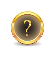 gold button with question sign vector image