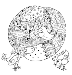 Hand drawn doodle outline fox sleeping with chiken vector