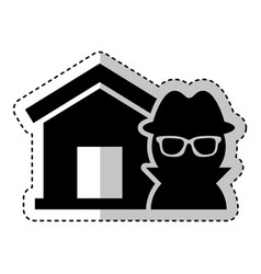 House insurance with thief isolated icon vector