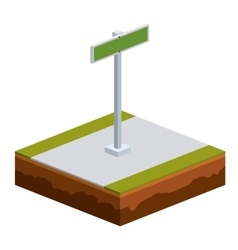 Isolated isometric green road sign design vector
