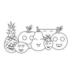 kawaii fruits cartoon character friends funny vector image