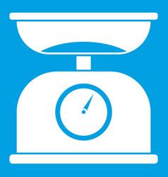 Kitchen scales icon white vector