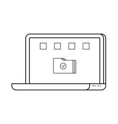 Laptop line art simple gadget icon vector