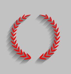 Laurel wreath sign red icon with soft vector