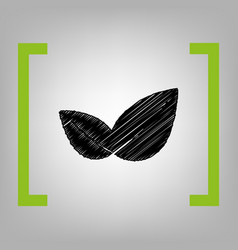 Leaf sign black scribble vector