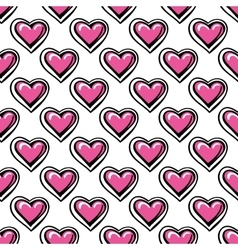 Love seamless pattern with pink hearts vector