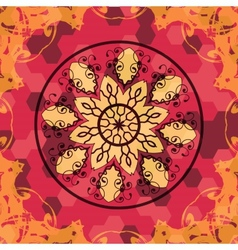 Mandala like lace in red colors vector image