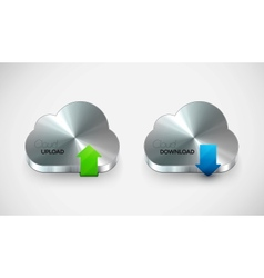 metal cloud icon set vector image vector image