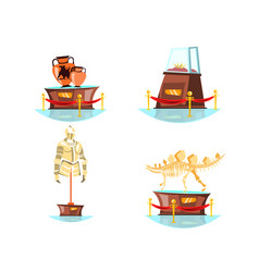 museum exhibits on white background vector image