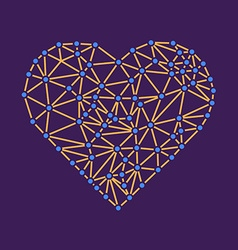 Polygonal wireframe heart valentines day vector