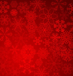 Red christmas snowflakes background with lights vector