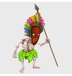 Skeleton in Indian mask with spear vector image