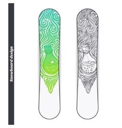 Snowboard design alchemical bottle vector