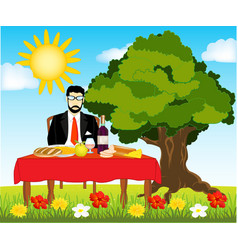 Table with meal on nature vector