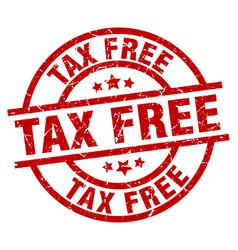 Tax free round red grunge stamp vector