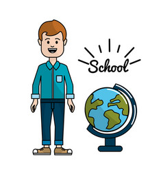 teacher with earth planet desk in the school vector image vector image