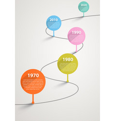 temporary timeline with pointers by years vector image