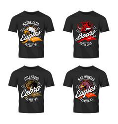 Vintage furious eagle boar cobra bikers club tee vector