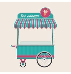 Vintage ice cream cart bus vector