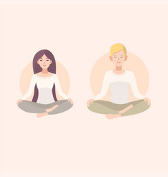 Young woman and man couple meditating in lotus vector
