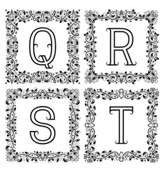 Vintage monograms set Q R S T outline letters in vector image