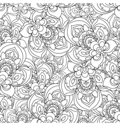 Seamless monochrome ornate pattern for vector