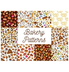 Bakery and pastry desserts seamless patterns set vector image