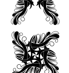 Elegant black-white tribal tattoo design vector