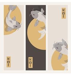 Three vertical banners with carp koi fish swimming vector