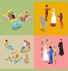 Isometric wedding ceremony with bride and groom vector