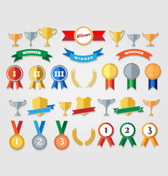flat trophy cup and award icons vector image