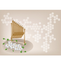 Musical angklung orchid background vector