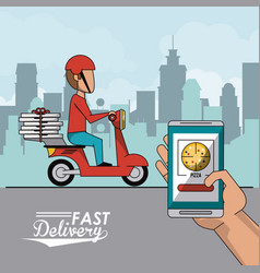 Poster city landscape with fast pizza delivery man vector