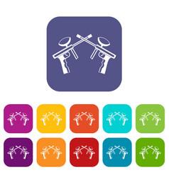 Paintball guns icons set vector