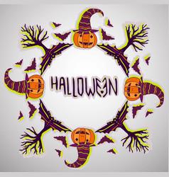 Halloween background pumpkin bats and trees hand vector