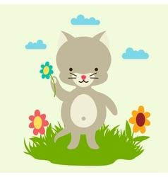 Little cute baby cat picking flowers vector image