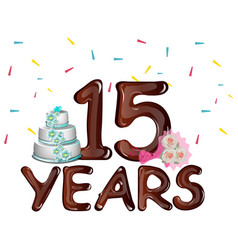Anniversary card 15 years on a light background vector