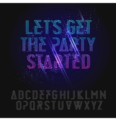 Neon party alphabet vector