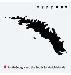 Detailed map of south georgia and sandwich islands vector