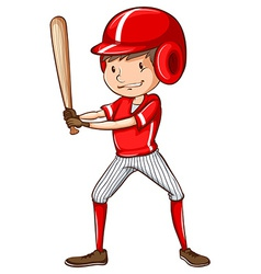 A sketch of a baseball player holding a bat vector