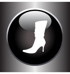 Women winter boot flat icon on black button vector