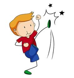Boy kicking vector image
