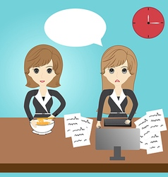 Business woman eating and business woman working vector