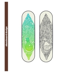 Skateboard design alchemical bottle vector